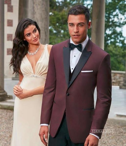 Classic Design One Button Burgundy Groom Tuxedos Black Peak Lapel Groomsmen Mens Wedding Suits Excellent Man Suits(Jacket+Pants+Vest+Tie) 94