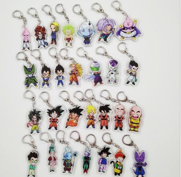 Cartoon Character Dragon BallKey Chain 3D Double Side Key Ring PVC Anime Figure Goku Vegeta Keychains Kids Toy Key Holder