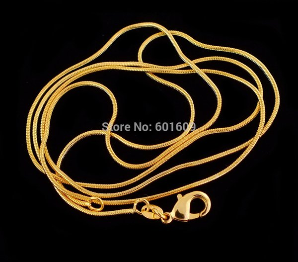2018 1pc Gold Color 1.2 MM Elegant Pattern Snake Chain Unisex Men/Women's Necklace (DIY PENDANT) 16INCH-30INCH