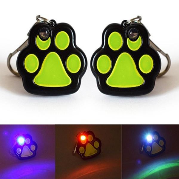 Fußabdrücke LED Blitzlicht Hundehalsband Charme Haustier Katze Hund Anhänger ID Tag Knochen Halskette Halsband Puppy Halsband Zubehör
