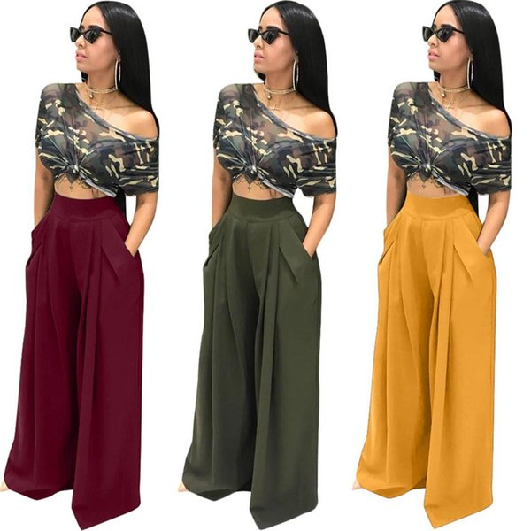 Sexy two pieces sets camouflage short sleeve T-shirt + wide leg pants two pieces suits NB-096