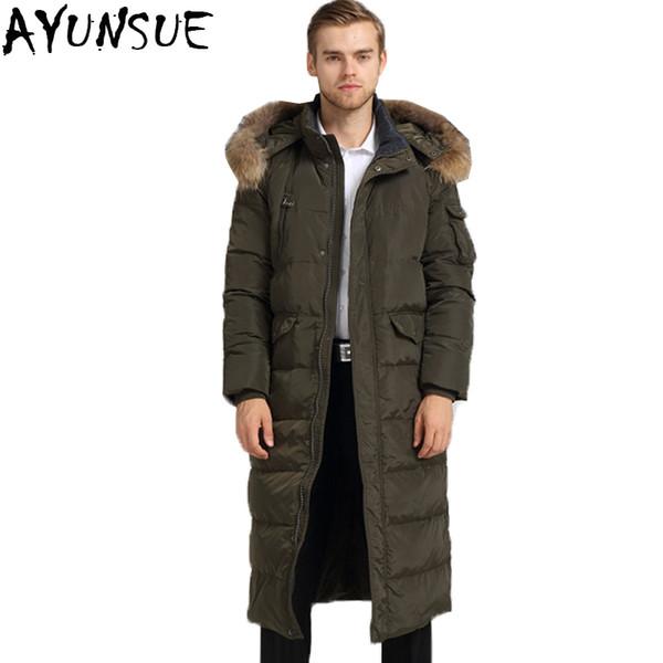 AYUNSUE 2018 Winter Duck Down Jacket Men Plus Size 4XL Raccoon Fur Long Hooded Coat Parkas casaca de invierno hombre LX2257