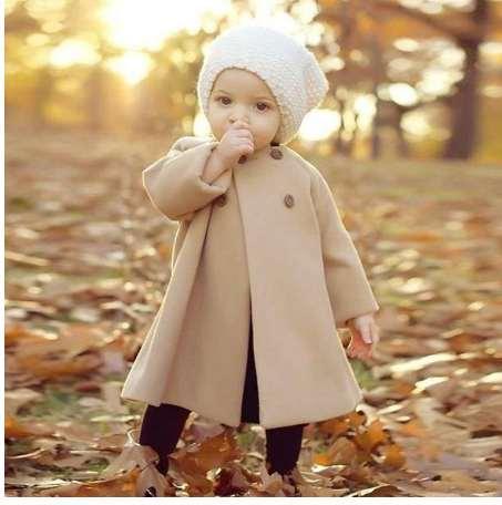 Bebek Ceketler Giysileri Uzun Yün Rüzgarlık Palto Çocuklar Kızlar için Pelerin Düğme Dış Giyim Palto Giyim