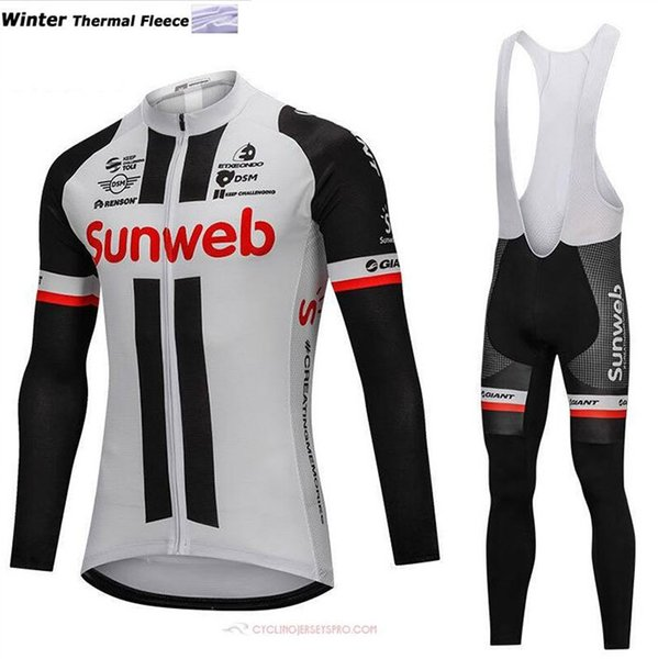 2018 Thermal fleece Cycling Jersey Long Sleeve and Cycling bib Pants Cycling Kits Strap Ciclismo bicicletas MTB Sports Wear B18111501
