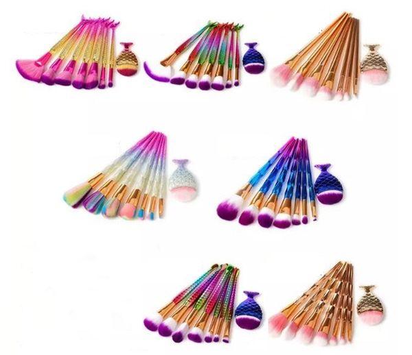 8pcs Mermaid Makeup Brushes Set Diamond Rainbow Big Fish Tail Cosmetics Foundation Brush Beauty Tools Multipurpose Make up Brushes Kit