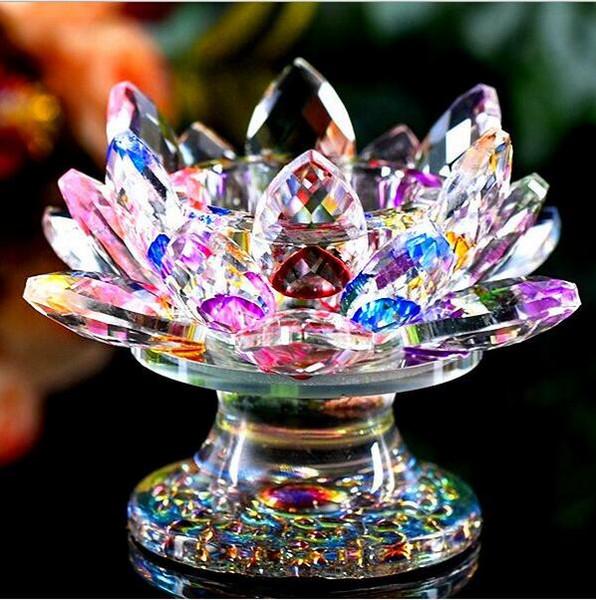 110 мм фэн-шуй кварц Кристалл лотоса цветок ремесла стекла пресс-папье украшения фигурки главная свадьба декор подарок сувенир