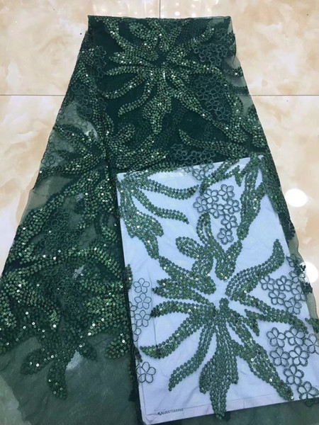 EPT1086 Free shipping (5yards/pc) deep green African mesh sequins lace fabric shining French net lace fabric for party dress