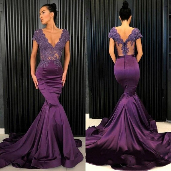 2019 Modern Grape Mermaid Prom Dresses Sexy Illusion Bodice V Cut Backless Applique Evening Party Gowns BC0206