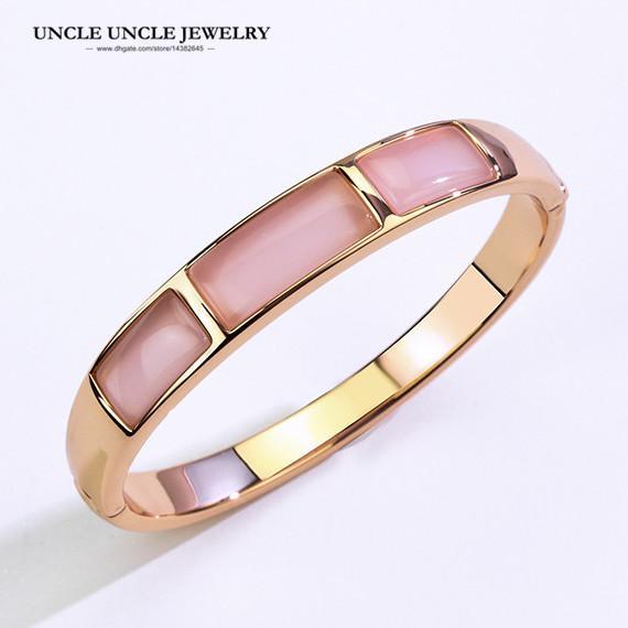Марка Дизайн Розовое золото Цвет прямоугольника высокого качества Опалы Ретро Trendsetter Lady Bangle Браслет (белый / розовый)