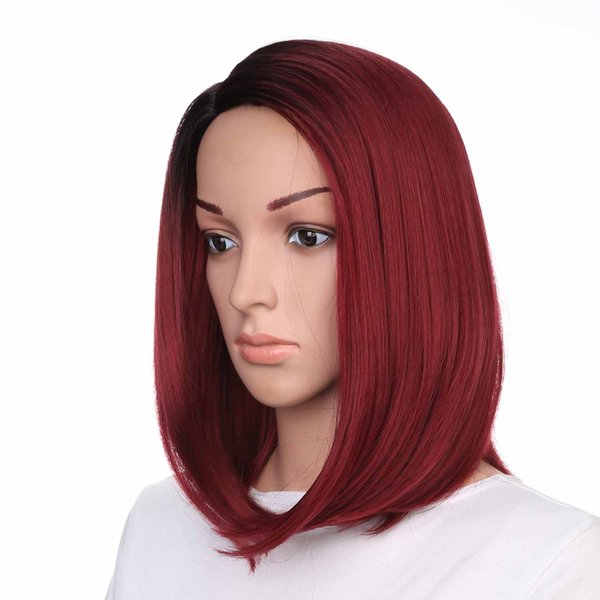 Ombre Black to Red Curlved Straight Synthetic Bob Wigs Side Part Full Head Lolita Short Synthetic Red Wigs Free Shipping