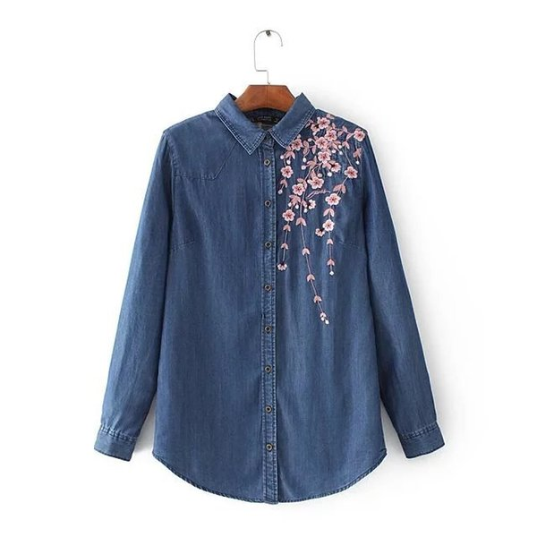 7777 EURO STYLE NEW FASHION WOMEN'S Blouse Turn Down Collar Floral Embroidery Long Sleeve Denim Blouse women clothing lady casual shirt