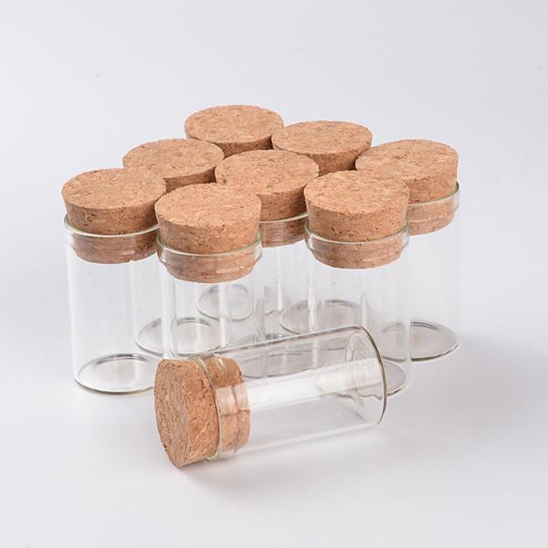 5 ml 10 ml 12 ml Mini frascos de vidrio Frascos en botellas de Vitro con tapones de corcho Tapón de prueba de vidrio Botellas de frasco de masón transparente 100 unids