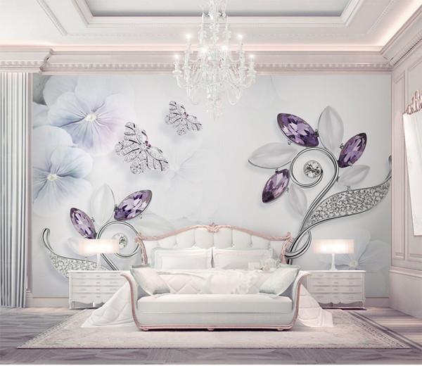 Purple Crystal Flower Butterfly 3d Stereo Jewelry TV Background Wall Luxury  Jewelry Diamond Mosaic Leaves Flowers Butterfly Mural Wallpapers Girls
