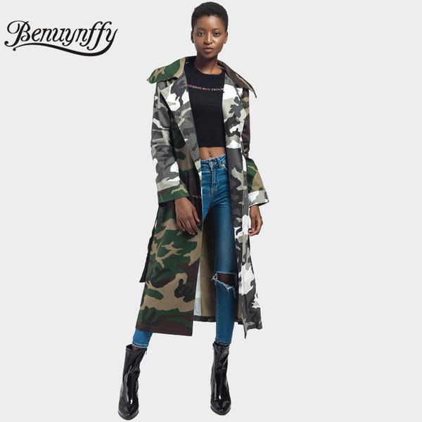 Benuynffy Armee-Grün-Tarnungs-Druck-Bindungs-Taillen-langer Mantel-Herbst-Frauen Highstreet zufällige Oberbekleidung-Damen öffnen vordere Revers-Mäntel