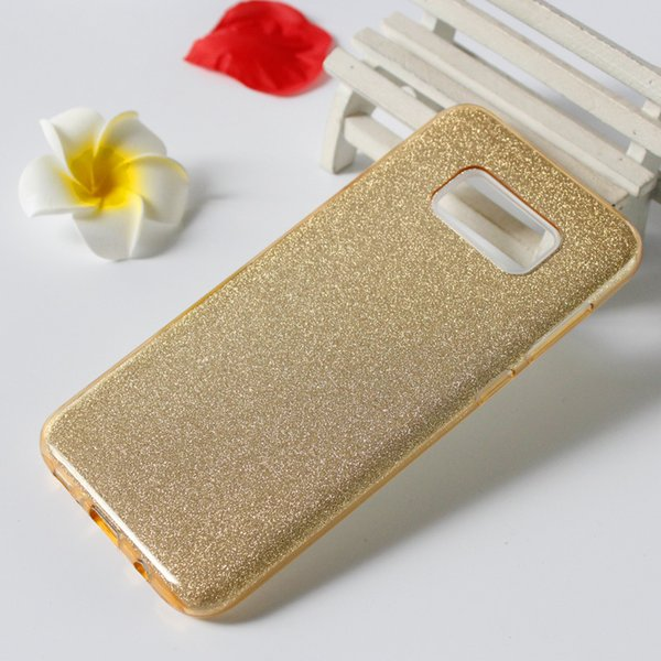 Glitter Bling phone case For Samsung Galaxy S9 S9 plus TPU+PC+Sticker 3 in1 Anti-Fall Hot Sell Cell Phone Case