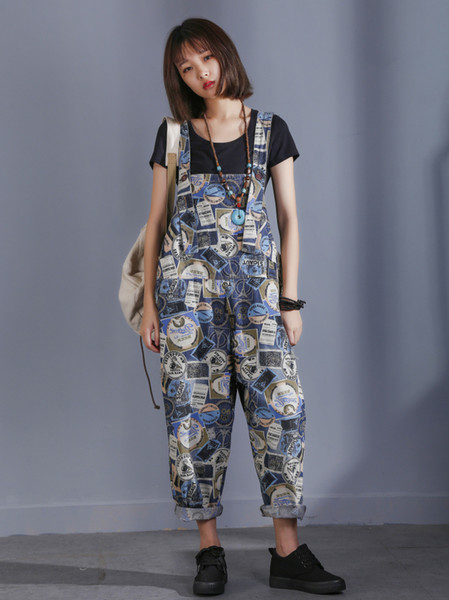 Women Loose Print Pattern Jumpsuits Ladies Holes Overalls Female Casual Fashion Printed Rompers 2018