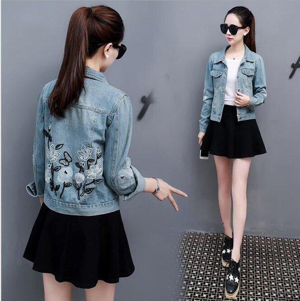 THYY 2018 Print Slim Women Basic Coat Denim Jacket Donna Autunno Inverno Giacca in denim per jeans Cappotto A719