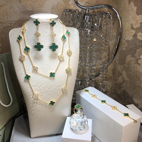 Hot Top Qualität Marke 925 Sterling Silber vier Blatt Blume Schmuck-Set für Frauen Halskette Armband Ohrringe Ring grün Shell Klee Schmuck