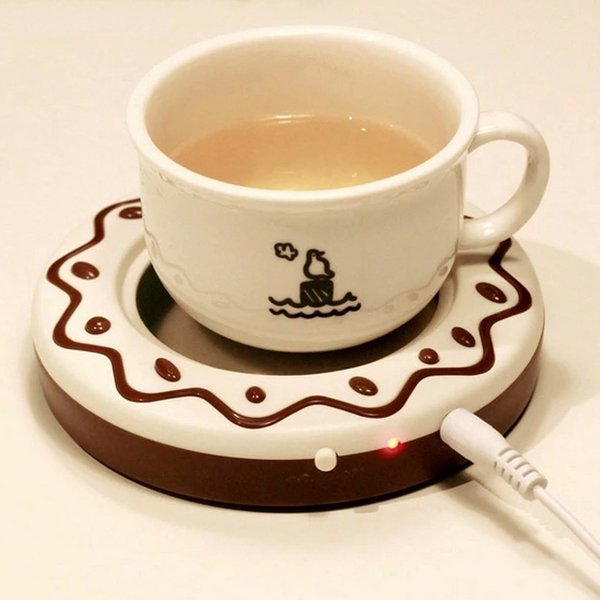 Donut Cookie USB Mug Warmer Coaster Portable Office Home USB Electric Powered Desktop Tea Coffee Beverage Cup Mug Warmer Mat Pad