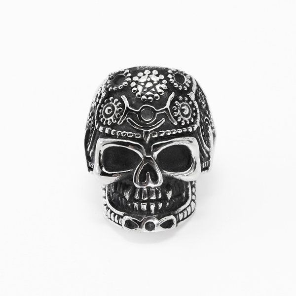 Titanium Steel Vintage Band Ring For Men Jewelry Skeleton Punk Men Personality Charm Ring Retro Style Rings Gift Male Accessories
