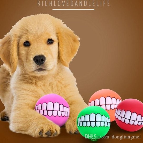 Pet Puppy Dog Funny Ball Teeth Silicon Chew Sound Dogs Play New Funny Pets Dog Puppy Ball Teeth Silicon Toy wn390