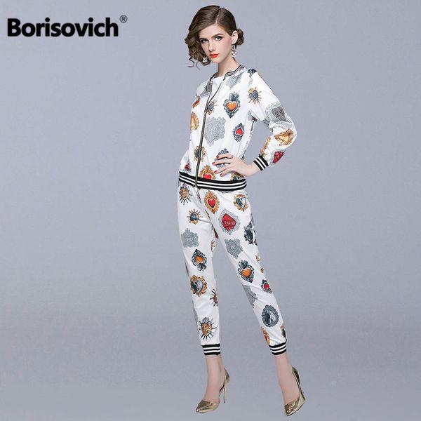 Borisovich 2 pezzi set donna casual adatta nuovo 2018 autunno moda vintage stampa femminile giacche e pantaloni alla caviglia N134