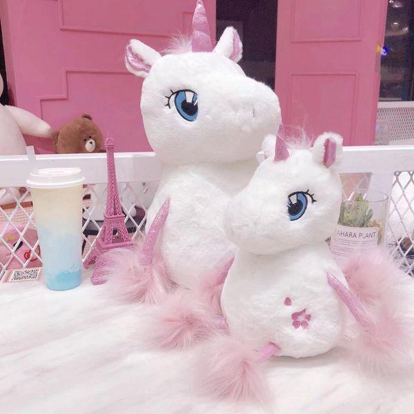 Bebek Unicorn Peluş Bebek Dolması PP Pamuk Kızlık Kalp Sevimli Oyuncak Kürk Ince Ayak Süper Yumuşak Benzersiz Baskı Festivali Hediye Rahat Bolster
