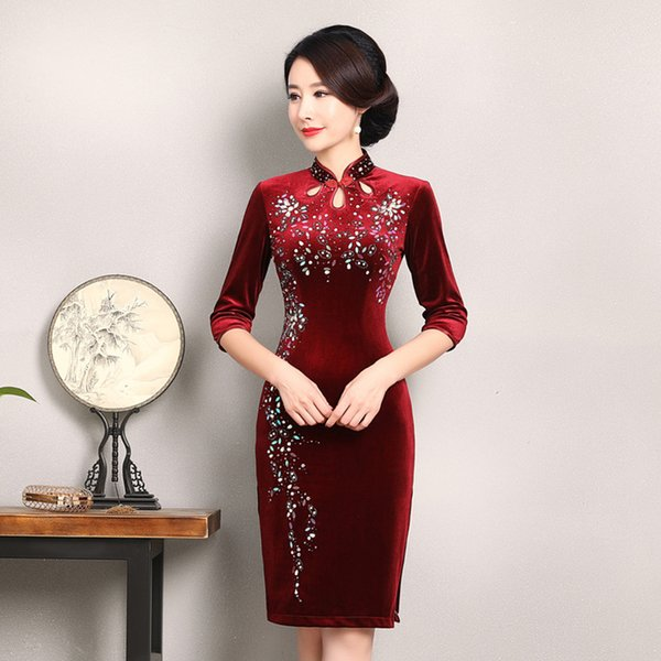New classic high quality plus size half sleeve velvet beading wine red/blue/green cheongsam medium length daily qipao Chinese dress