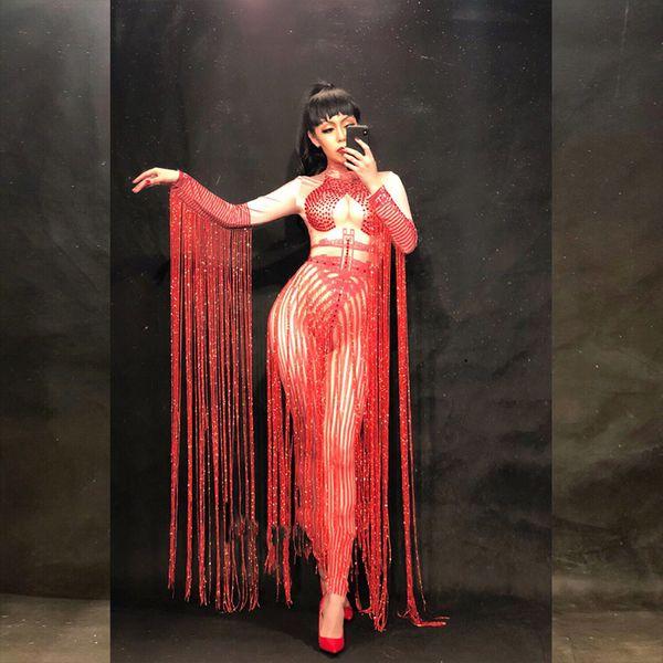 Glisten Crystals Rouge Jumpsuit Sexy Long Gland Femmes Outfit Discothèque Femelle Chanteur Costume Stade Danse DS Performance Vêtements