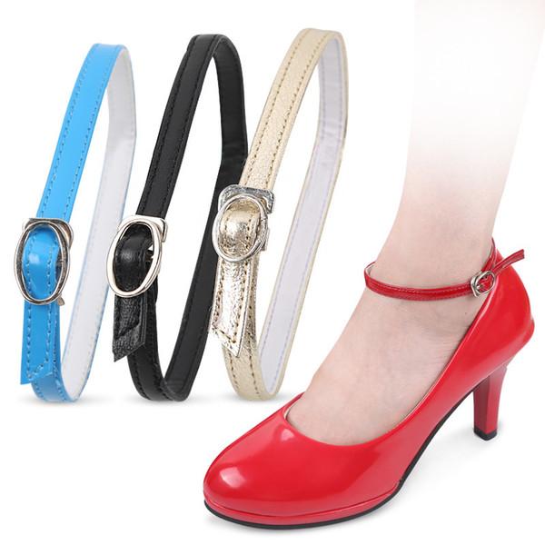 Laços de sapato de salto alto de couro Prendedores de homem preguiçoso Senhoras não seguem os pés ao redor da fivela de tornozelo fivela amarrado branco arredondar