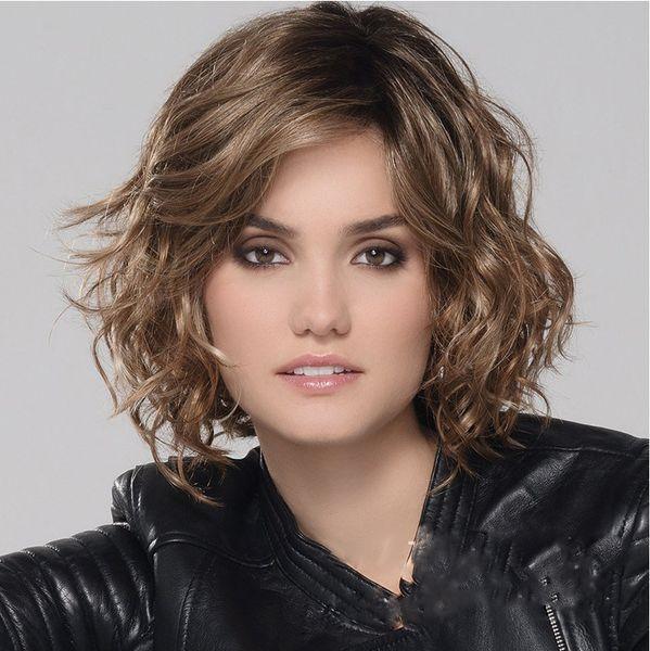 Großhandel Neues Headset Kurze Lockige Haare Schräg Liu Hai Chaotisch Europäische Und Amerikanische Flauschige Frisur Natürliche Welle Kurze Lockige