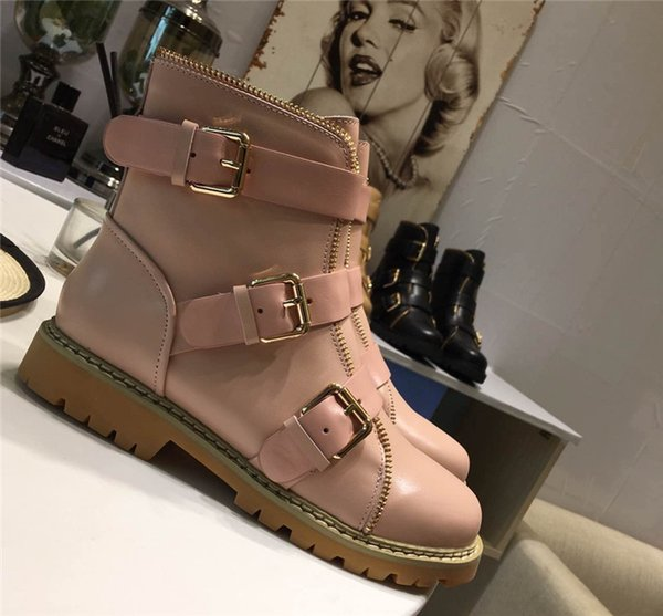 0Balmain27 Woman Buckled Ankle Boots Side Zip Lace-Up Leather Boots Suede Low Heel Round Toe Gold-Tone Hardware Martin Shoes Luxury Brand 29