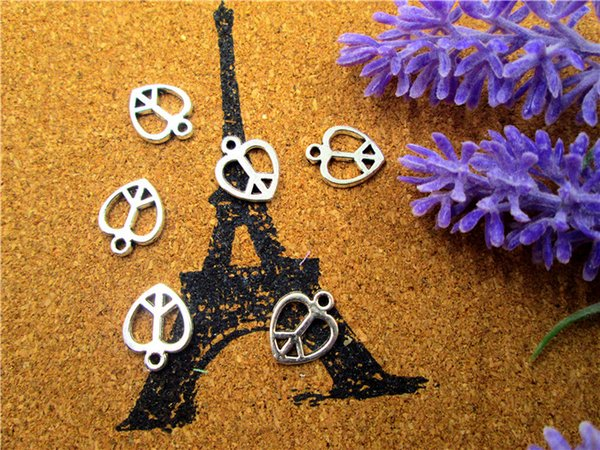 60PCS--Peace Sign,Tiny Size Tibetan Silver Heart Shaped Peace Symbol Pendants/Charms, Jewelry Making 12x14mm
