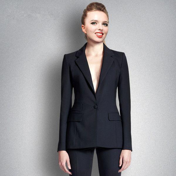 Women's solid color slim slimming suit two-piece suit (coat + pants) ladies business formal wear support custom