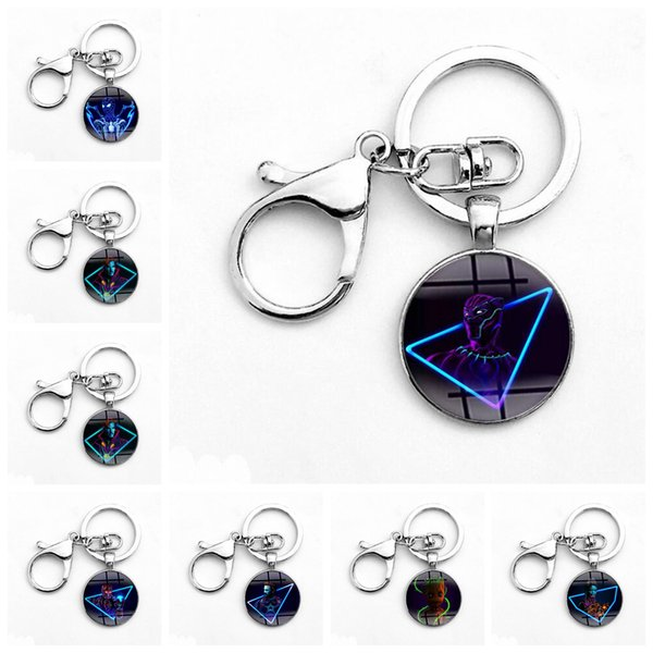 Avengers Keychain Iron Man Captain America Spiderman Time Gemstone Alloy Glass Key Chain Infinity War Keyring 400pcs OOA5038