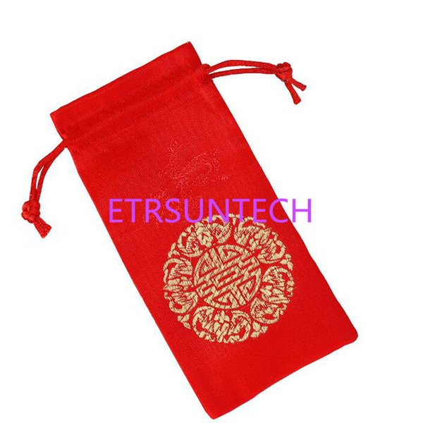 15*7.2cm Chinese Blessing Good Fortune Red Drawstring Gift Bag Comb Package Bag Jewelry Incense Bag Sachet QW7608