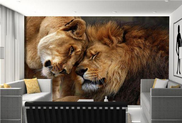 Großhandel Benutzerdefinierte 3d Wandbilder Wallpaper 3d Fototapete Wandbilder Herrschsüchtig Löwe Löwe Fotografie Tier Tv Hintergrund Wand Tapeten