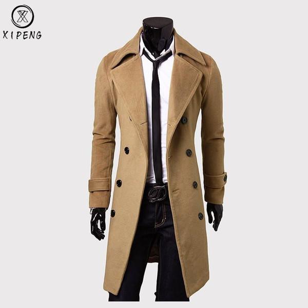 Lange Wollmantel Männer 2018 Hohe Qualität Männer Trenchcoat Winter Wolle Mischungen Erbse Jacke Slim Fit Herren Mantel Manteau Homme 3XL