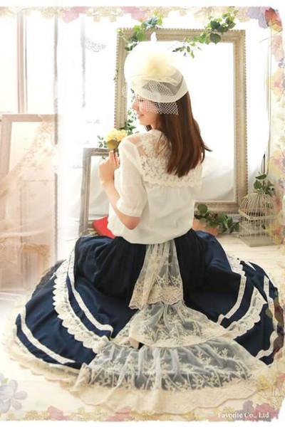 Princesse douce jupe lolita Dentelle épissage grande Jupe Bleu Japonais Lolita style douce princesse femmes mode FG083