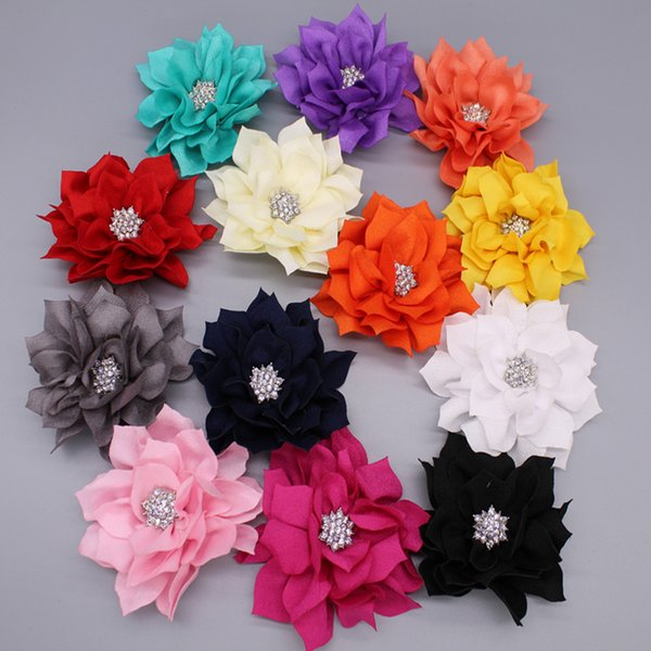 20pcs /Lot 3.6 Artificial Lotus Flowers With Rhinestone Button For Hair Accessories Fabric Flowers 13colors For Headbands Headwear