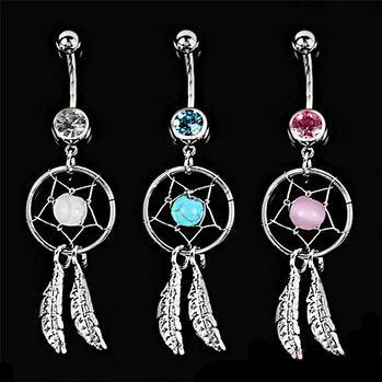 3 цвета Кристалл драгоценный камень Ловец снов перо цепи пупка болтаться живота штангой кнопка бар кольцо боди-арт бар G92L