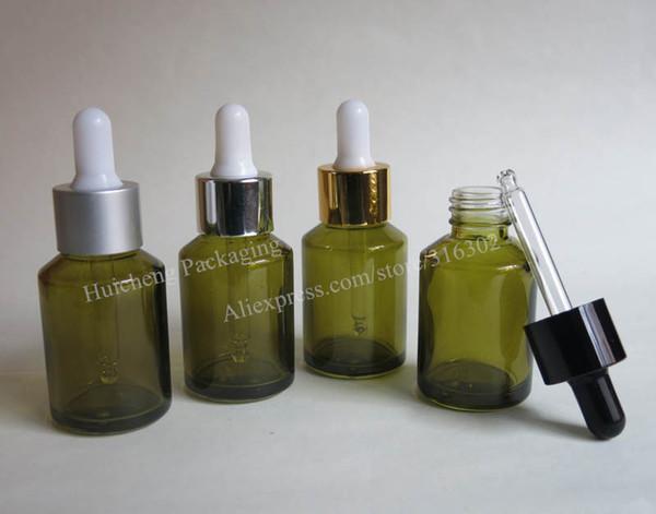 Botella oblicua del dropper del vidrio verde del hombro de 200 X 30ml, envase del dropper de cristal 1oz para el uso del aceite esencial