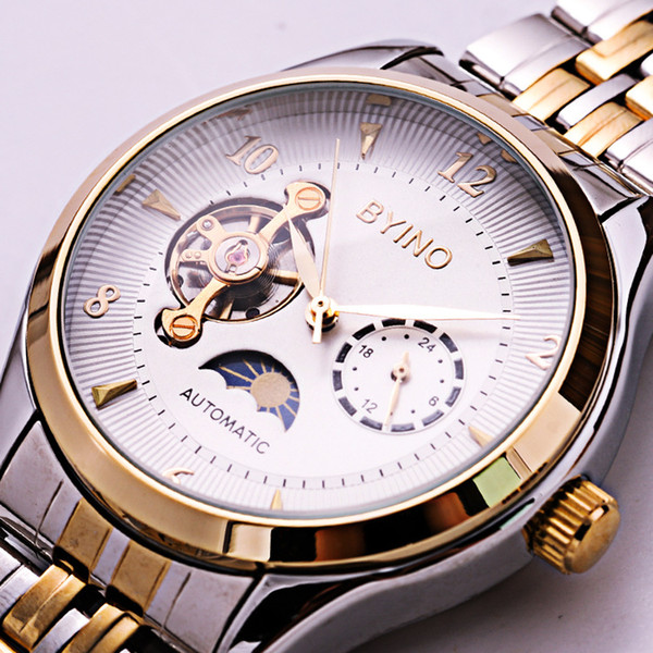 High Quality Luxury Fashion Tourbillon Automatic Mechanical Watches with Moon Phase for Men Waterproof Watch