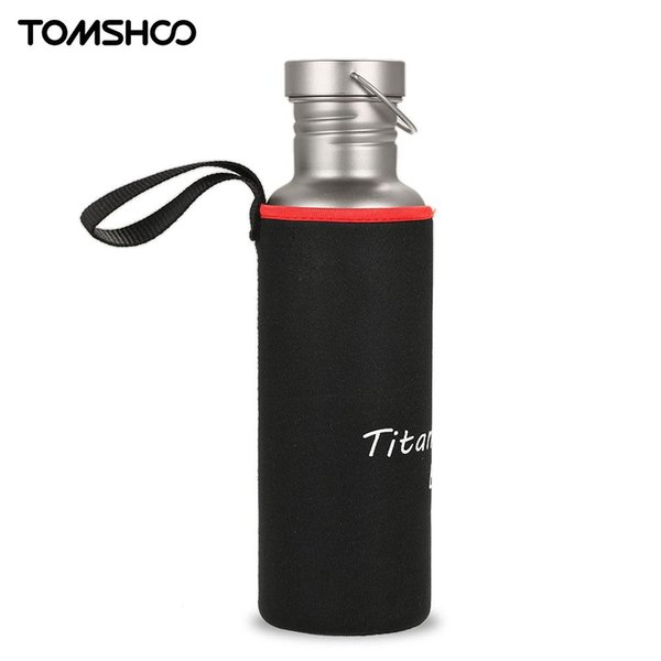TOMSHOO 750ml Outdoor Camping Hiking Cycling Water Bottle Water bags Bottle Full Titanium with Extra Plastic Lid Ultralight