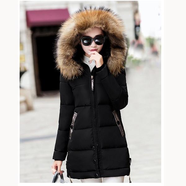 Großhandel Winter Frauen Mit Kapuze Parka Mantel Dicke Schnee Tragen Warme Baumwolle Gefütterte Mantel Damen Große Pelzkragen Lange Parka Von