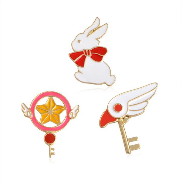 Mignon Star Stick Baguette Magique Tête D'oiseau Broche De Lapin pour Filles Denim Veste Pin Uniforme Badge Mode Animation Japonaise Bijoux drop ship