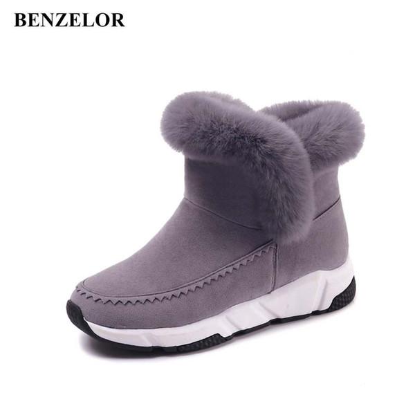BENZELOR 2018 Winter Keil Patchwork Kunstpelz Mode Frauen Schuhe Frau Stiefel Plattform Warme Schnee Femme Damen Boot Schwarz A176