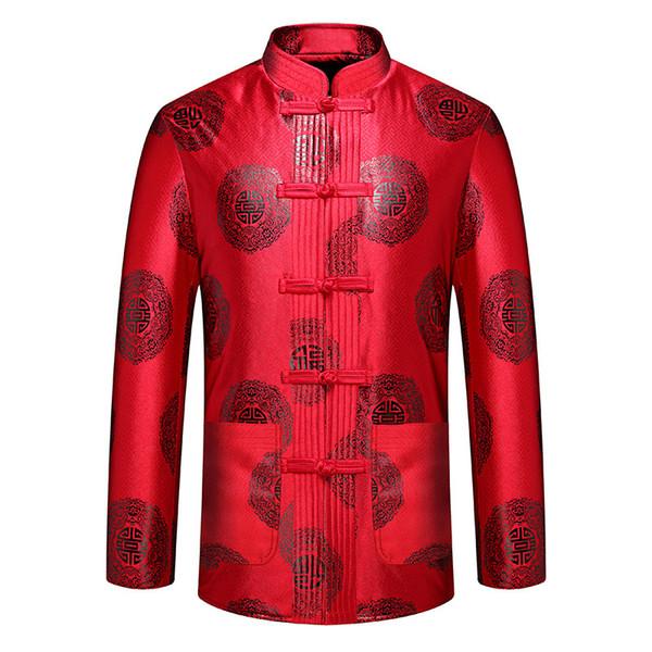 Style chinois manteau mâle Vintage veste hommes traditionnels collier Mandarin Tang Top Casual manches longues classique fleur rouge Outwear
