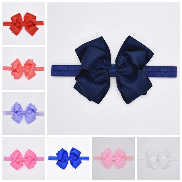 """16pcs baby stretchy hair band accessories 4"""" solid navy grosgrain ribbon bows elastic headbands for girls bowknot headwear HD109"""