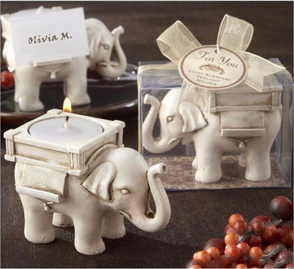 Fashion Style Resin Ivory Lucky Elephant Tea Light Candle Holder Wedding Party Home Decoration Gift Durable Candlestick c144